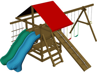 Wooden Backyard Swing Set 3D Model