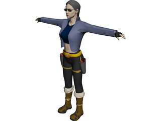 Woman [+Gun] 3D Model 3D Preview