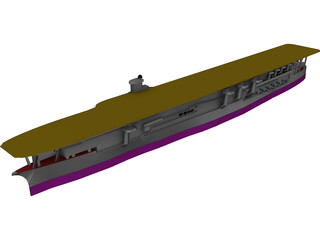 IJN Kaga Aircraft Carrier 3D Model
