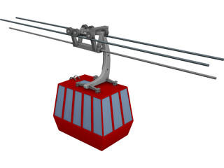 Three-Aerial Ropeway 3D Model 3D Preview