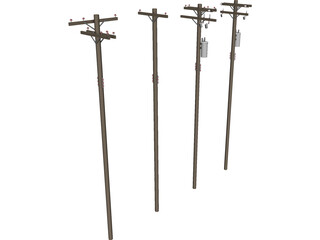 Electrical Post Array 3D Model