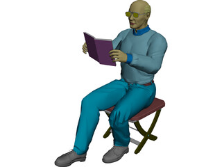 Man with Book 3D Model
