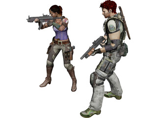 Special Team Resident Evil Character 3D Model