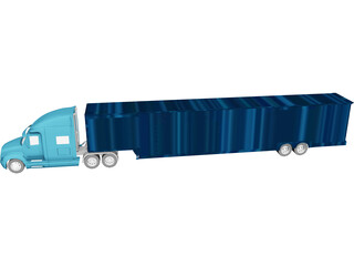 Freightliner Truck and Trailer 3D Model