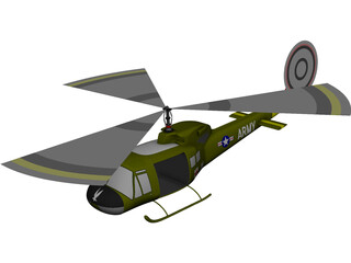 Bell UH1-B Huey 3D Model 3D Preview