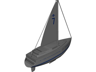 Oyster Sailboat 3D Model 3D Preview