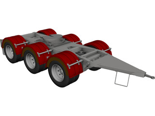 Tri-Axle Dolly 1540 Axle Centers CAD 3D Model
