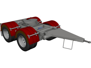 Tandem Axle Dolly 1540 Axle Centers CAD 3D Model