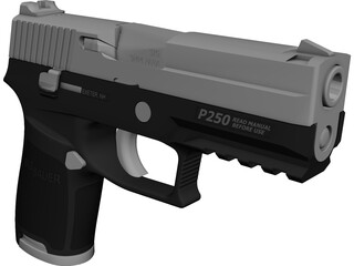 Sig Sauer P250 9mm Handgun CAD 3D Model
