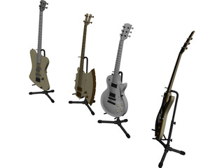 Electric Guitars Collection 3D Model