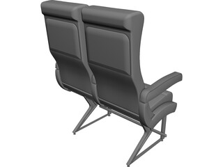 Commercial Jet Seat CAD 3D Model