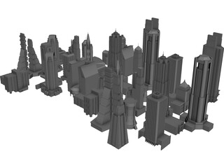 Skyscrapers Collection 3D Model