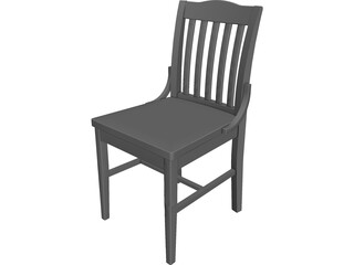 Old American School Chair 3D Model