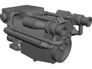 MAN Marine Diesel V12 Engine CAD 3D Model