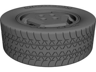 Wheel with Tyre CAD 3D Model