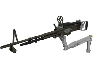 M60 7.62mm Machine Gun and Arm 3D Model