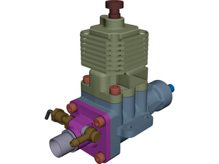 Ethanol RC Auto Combustion Engine CAD 3D Model