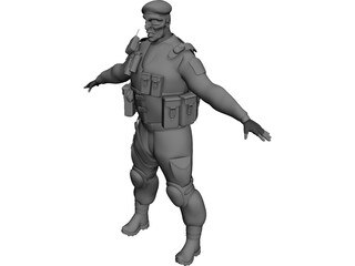 Soldier Black Beret 3D Model 3D Preview