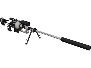 CheyTac M-200 Intervention Rifle CAD 3D Model