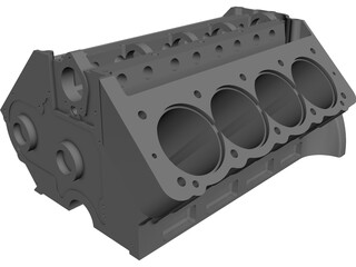 Arias Big Block Hemi Engine Block CAD 3D Model