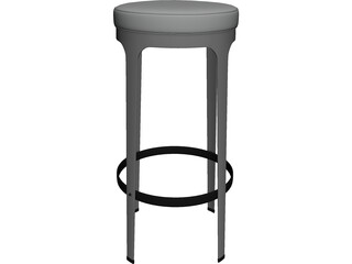 High Metal Barstool 3D Model