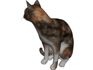 Cat Sitting Red Haired 3D Model