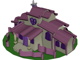 Minnie Mouse Cartoon House 3D Model