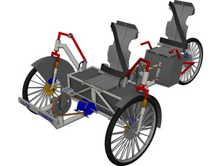 Human Power Hybrid Vehicle CAD 3D Model