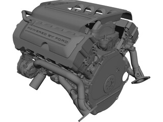 Ford 5.0 Coyote Engine CAD 3D Model