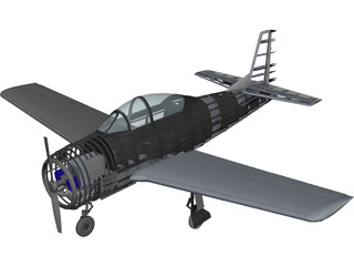 North American T-28 Trojan RC Airplane 3D Model