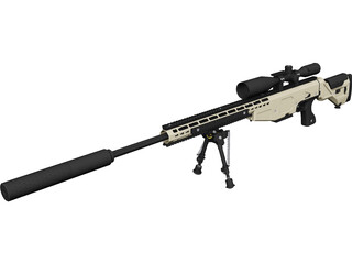 .338 Lapua Magnum Sniper Rifle CAD 3D Model