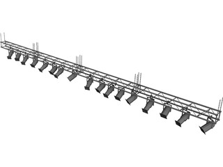 Truss with Stage Ligths and Chains 3D Model