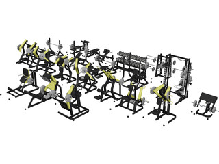 Gym Set Strenght 3D Model