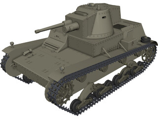7TP Polish Light Tank 3D Model