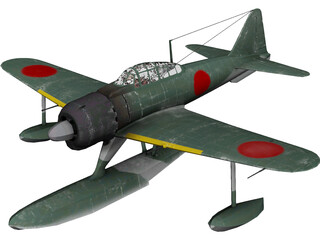 A6M Rufe Ground Camo 3D Model