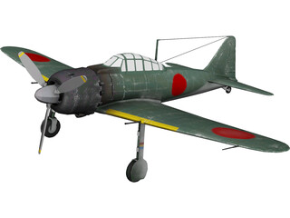 A6M Zero with Landing Gear 3D Model 3D Preview