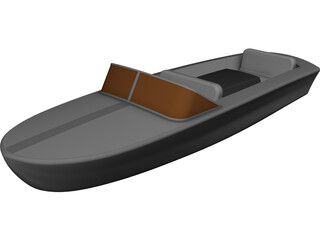 Delfin Fiber-Glass Boat CAD 3D Model