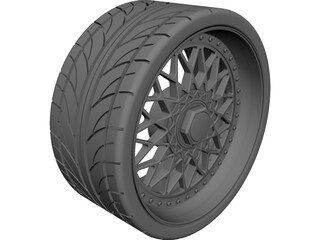 BBS RS Replica 3 Piece Wheel and Tire CAD 3D Model