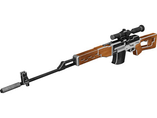 SVD Dragunov Sniper Rifle 3D Model