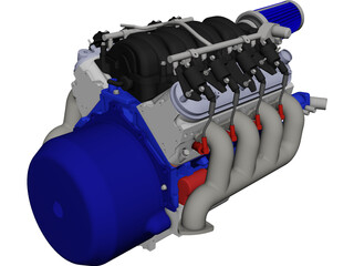 Chevrolet LS3 Engine Block CAD 3D Model