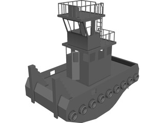 Tug Boat Small Inland 3D Model