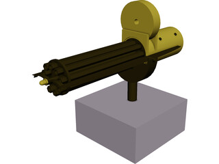Gatling Gun Hand-Crank 3D Model