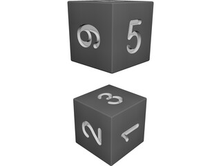 Numbered Dice 3D Model