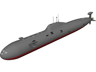 Soviet Akula Attack Submarine 3D Model