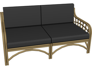 Sofa Bambu and Rattan 3D Model