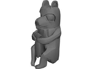 West Coast Native Bear Totum Carving 3D Model