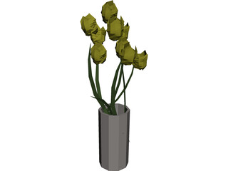 Tulips In Vase 3D Model 3D Preview