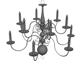 Colonial Chandelier 3D Model 3D Preview