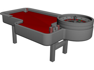 Gambling Roulette Table 3D Model