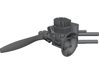 SuperTigre 2000 25cc RC Engine CAD 3D Model